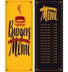 Menu for fast food with burgers vector