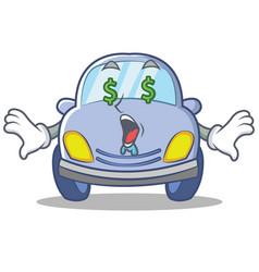 money eye cute car character cartoon vector image