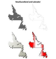 Newfoundland and labrador blank outline map set vector
