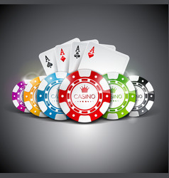 On a casino theme with color playing chips and vector