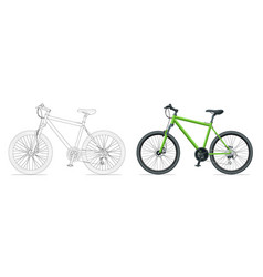 Outline bicycle outline isolated on white vector