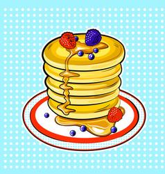 Pancakes pop art vector