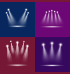 realistic light scenic spotlight card poster set vector image vector image