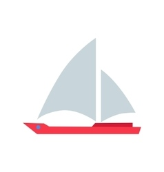 Red Boat with White Sails vector image vector image