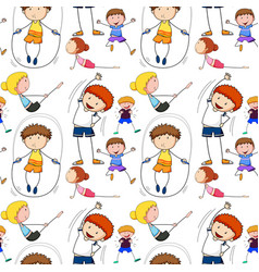 Seamless background with kids doing exercise vector