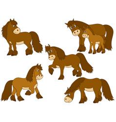 Set of cute cartoon horses vector