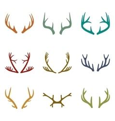 set of vintage deer antlers vector image
