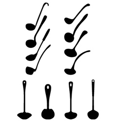 Silhouettes of ladle vector