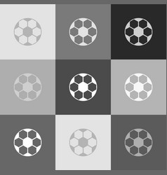 soccer ball sign grayscale version of vector image