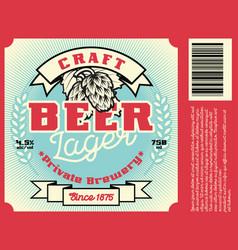 vintage frame design for beer label vector image vector image