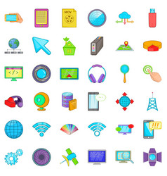 Web business icons set cartoon style vector