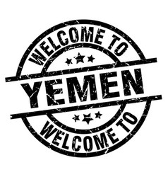 welcome to yemen black stamp vector image