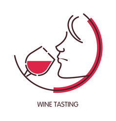 wine tasting logo with female profile and glass vector image vector image