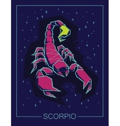 Zodiac sign scorpio on night sky background vector