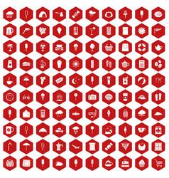 100 ice cream icons hexagon red vector