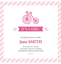 Baby announcement card it s girl vector image
