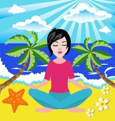 girl meditates in the yoga lotus position in seasi vector image