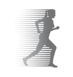 Silhouette of isolated running woman on white vector