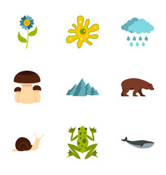 wild nature icons set flat style vector image