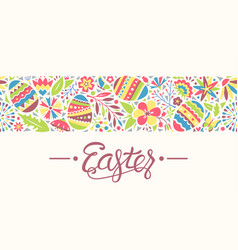 Easter seamless ornament line with eggs and vector