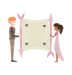 Drawing couple love card romance vector