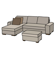 Big cream couch vector