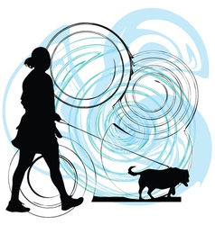 Woman walking her dog vector