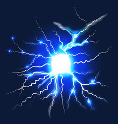 lightning on dark blue background vector image