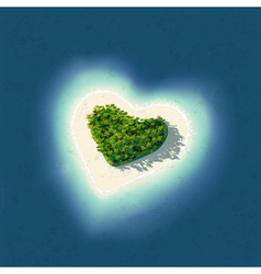 Heart shaped tropical island vector