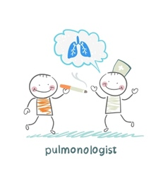 pulmonologist pulmonologist says lung patient who vector image