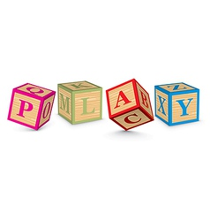 Word play written with alphabet blocks vector