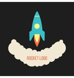 Rocket launch logo isolated on black background vector