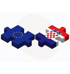 European union and croatia flags in puzzle vector