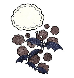 Cartoon vampire bats with thought bubble vector