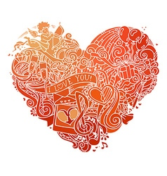 Hand-drawn red doodles heart isolated on white vector