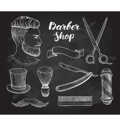 Vintage hand drawn barber shop set on vector