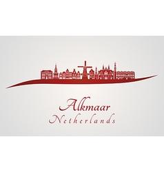 Alkmaar skyline in red vector