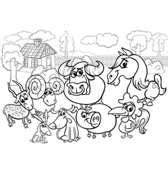 Animals country group bw m vector