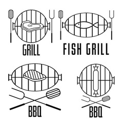 bbq set and design elements vector image vector image