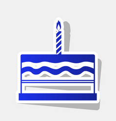 Birthday cake sign new year bluish icon vector