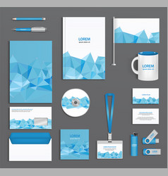 Blue corporate id template with triangular faces vector