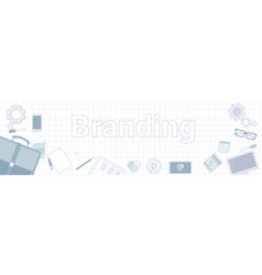 branding word with office stuff icons on squared vector image