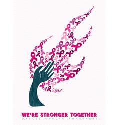 Breast cancer awareness pink ribbon hand tree art vector