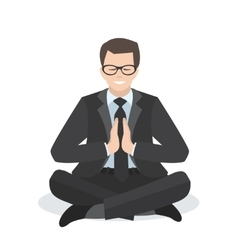 Business man in a yoga pose vector
