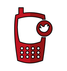 Cellphone with bird device isolated icon vector