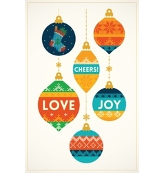 Christmas greeting card with knitted balls vector image