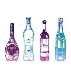 Colorful hand drawn alcohol drinks isolated on vector