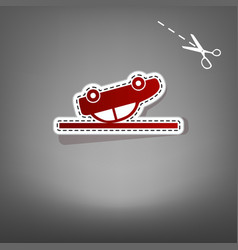 Crashed car sign red icon with for vector