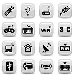 electronic and wifi icons vector image vector image