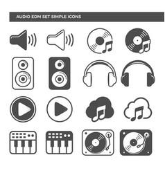 Electronic dance music audio set icons vector